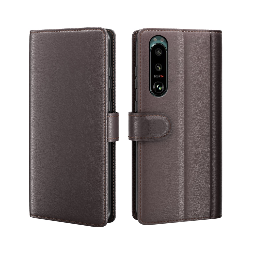 Ekte Lærveske Sony Xperia 5 III brun