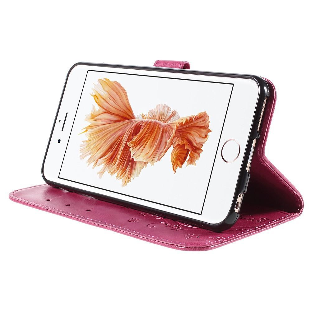 Lærveske Sommerfugler Apple iPhone 6/6S rosa