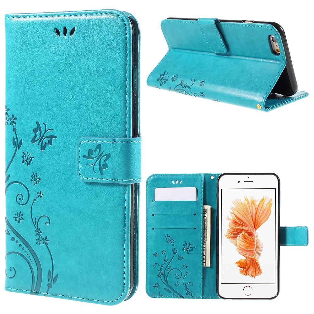 Lærveske Sommerfugler Apple iPhone 6/6S blå