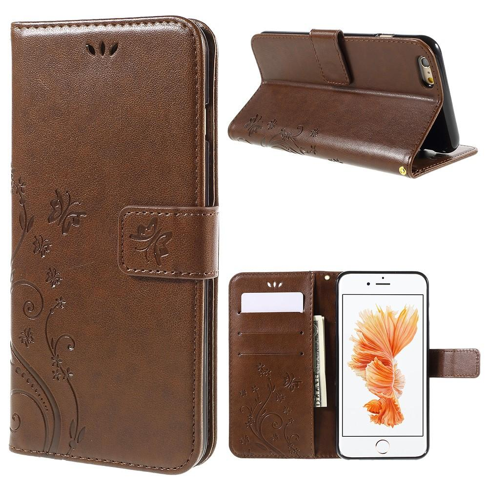 Lærveske Sommerfugler Apple iPhone 6/6S brun