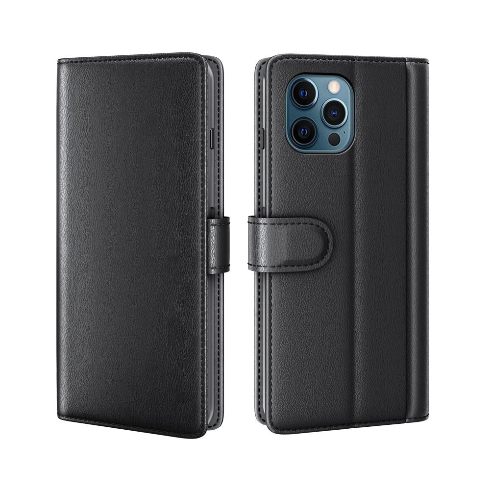 Ekte Lærveske iPhone 12 Pro Max svart