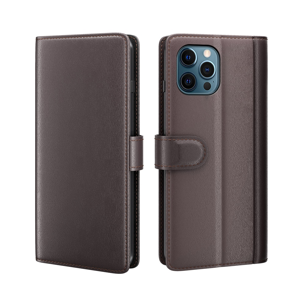 Ekte Lærveske iPhone 12 Pro Max brun