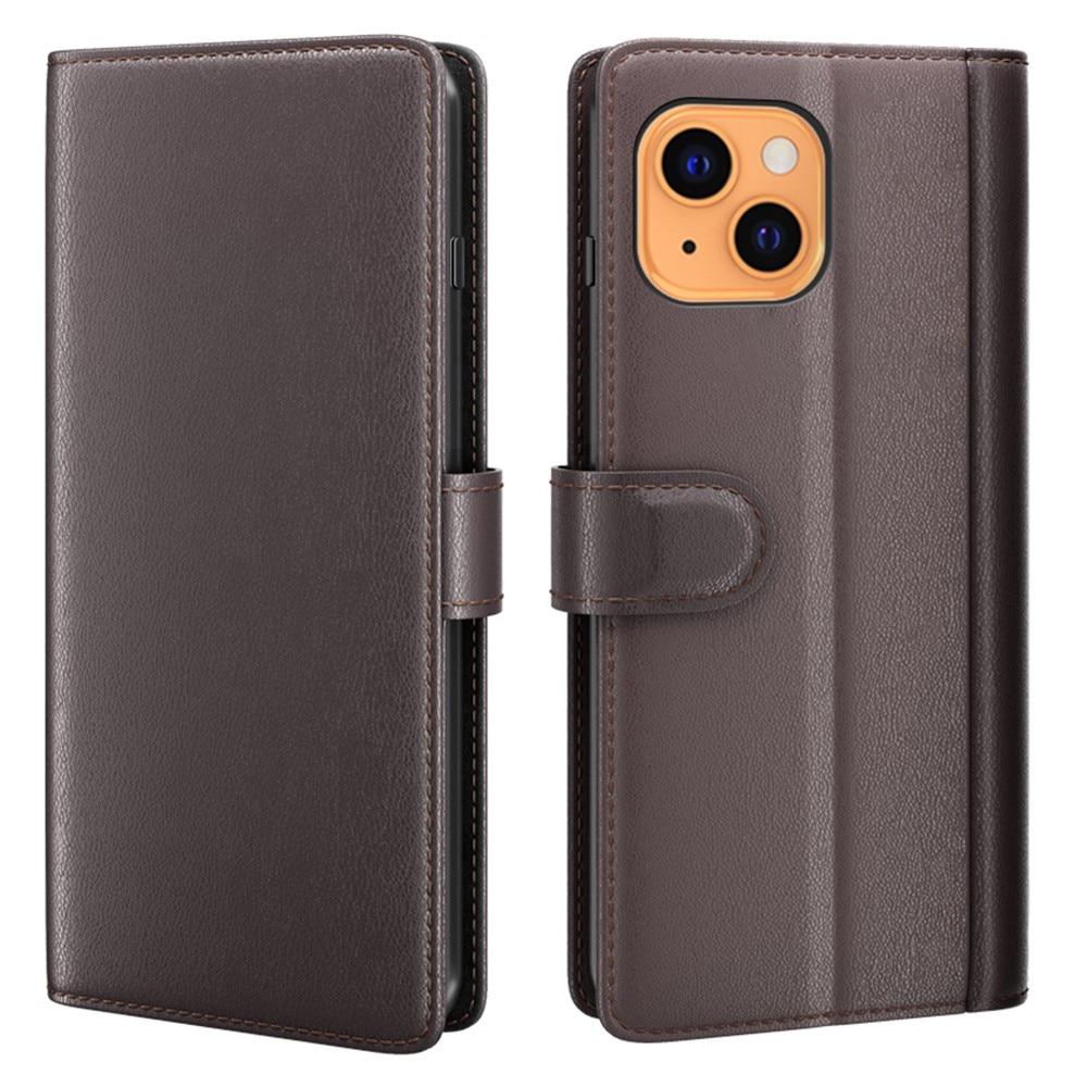 Ekte Lærveske iPhone 13 Mini brun