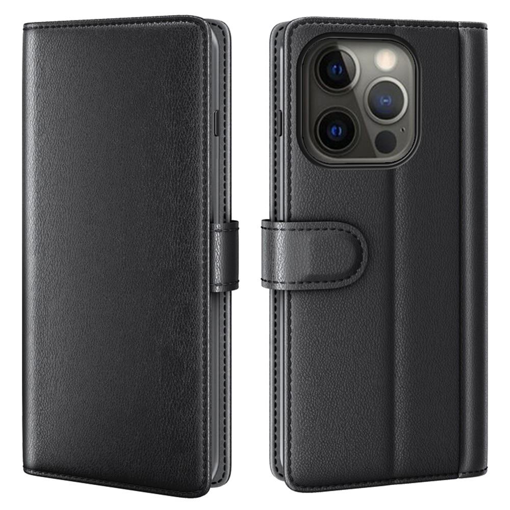 Ekte Lærveske iPhone 13 Pro Max svart