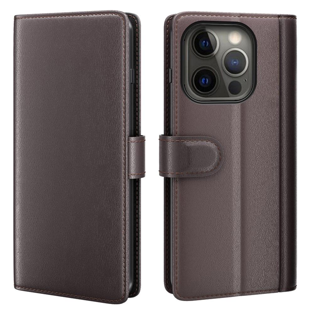 Ekte Lærveske iPhone 13 Pro Max brun