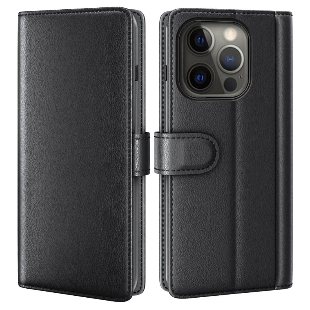 Ekte Lærveske iPhone 13 Pro svart