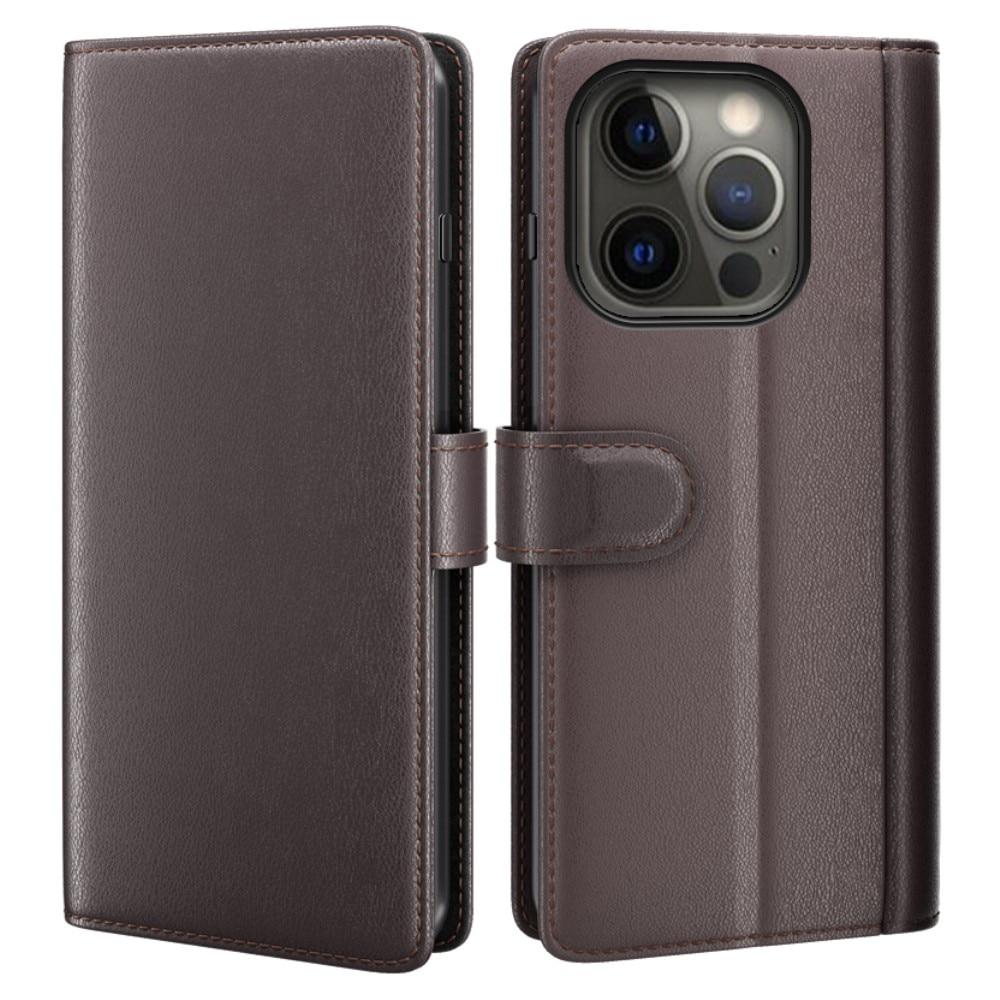 Ekte Lærveske iPhone 13 Pro brun
