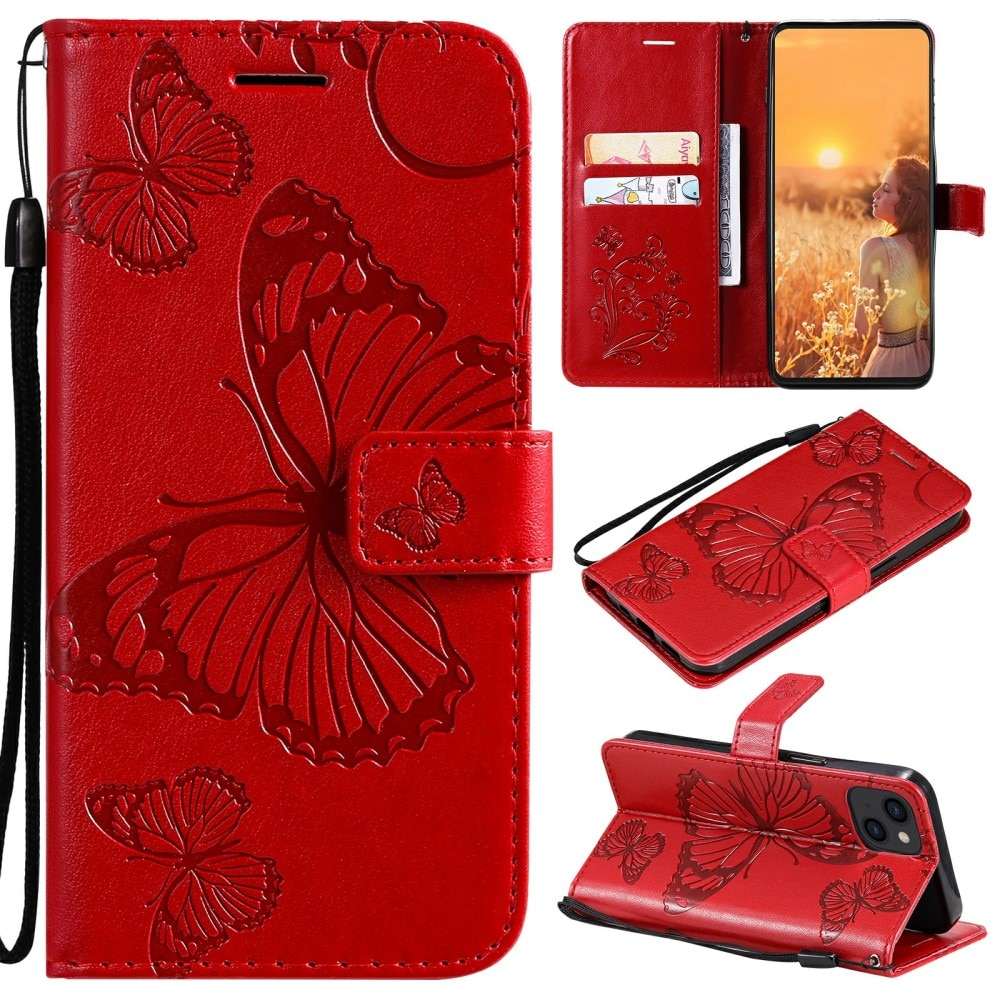 Lærveske Sommerfugler iPhone 13 rød