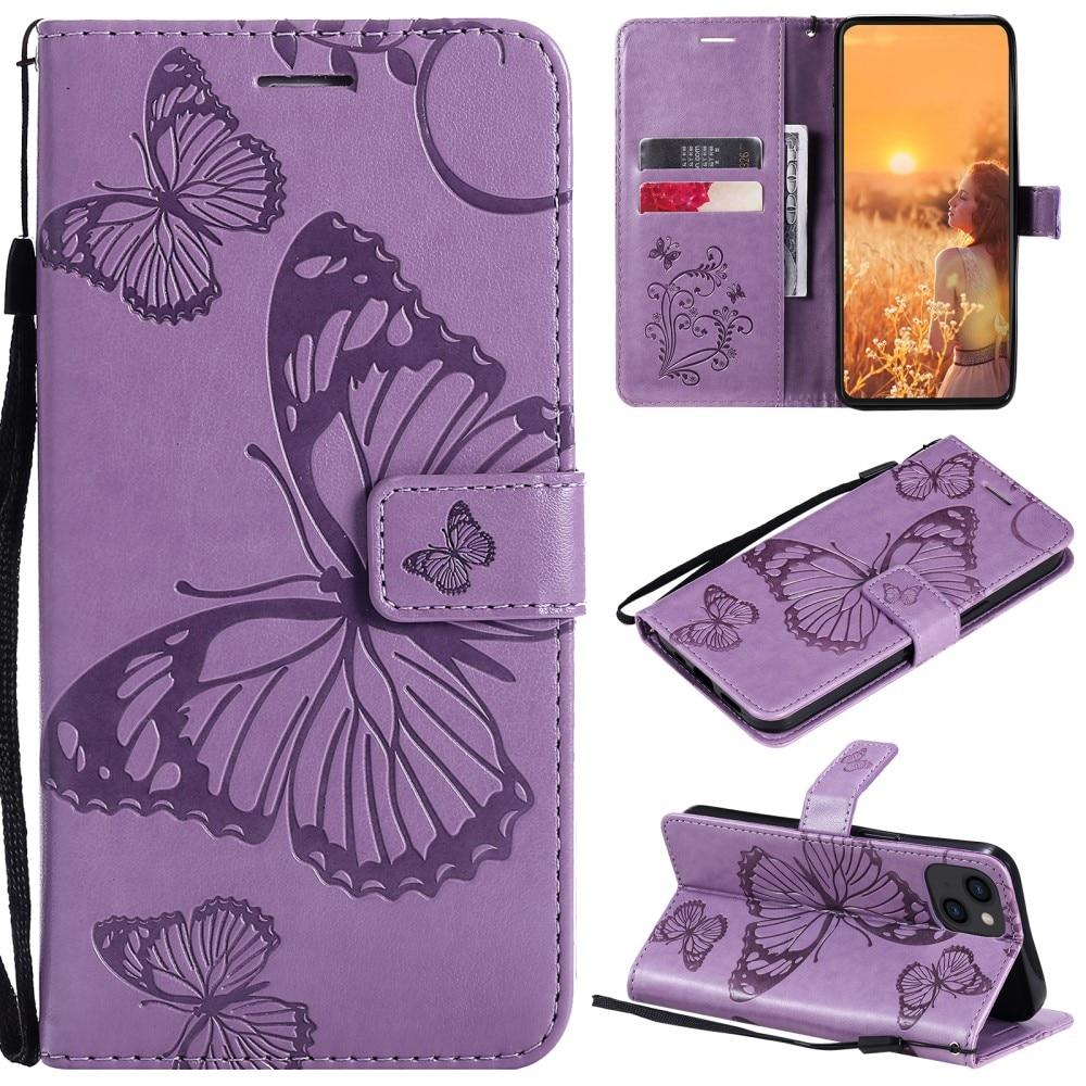 Lærveske Sommerfugler iPhone 13 lilla