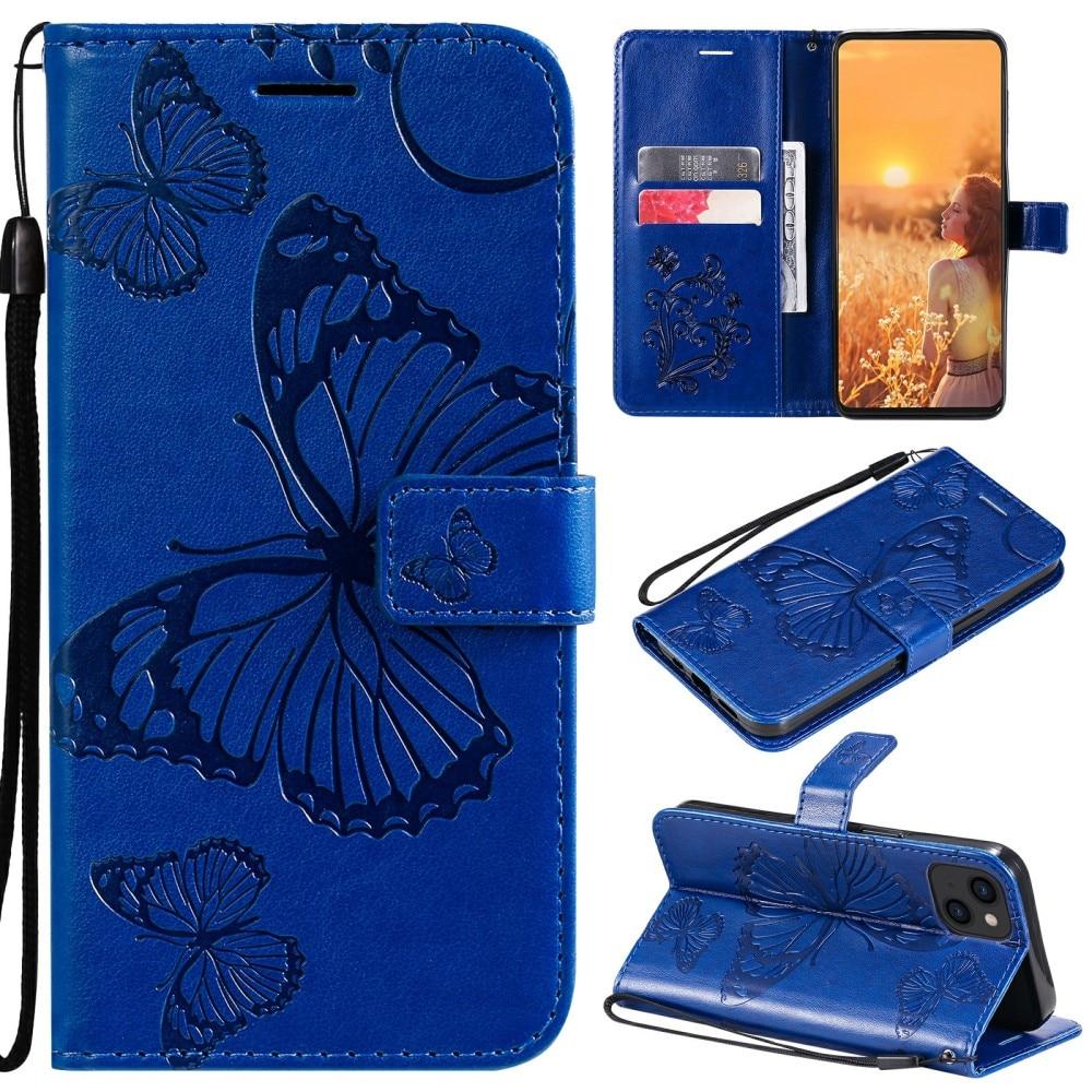 Lærveske Sommerfugler iPhone 13 blå