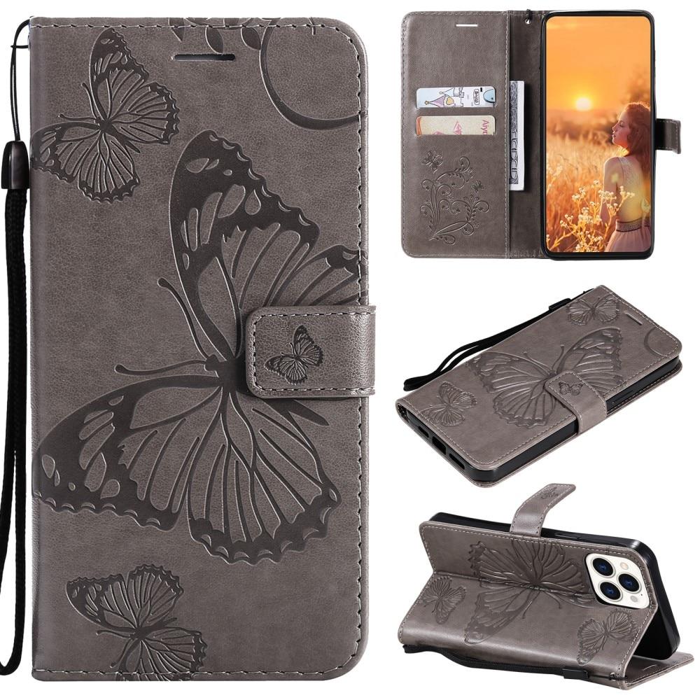 Lærveske Sommerfugler iPhone 13 Pro grå