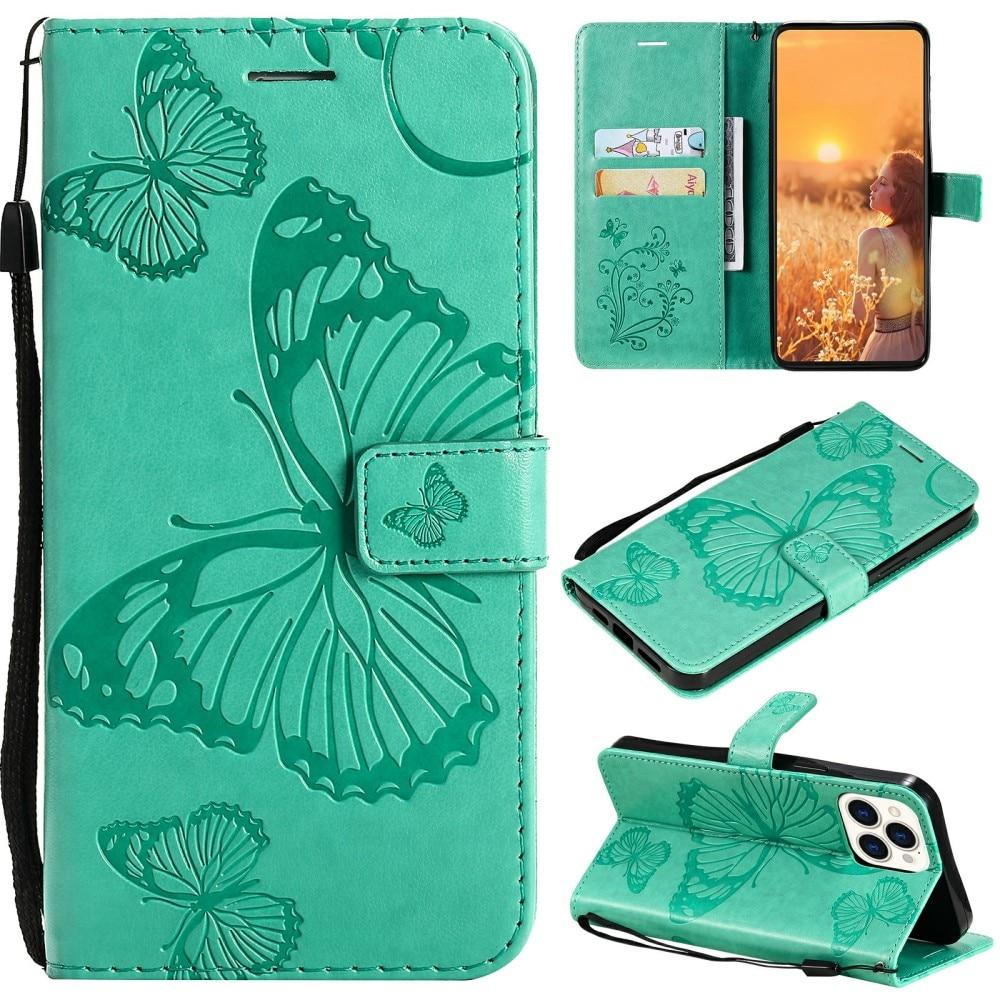 Lærveske Sommerfugler iPhone 13 Pro grønn