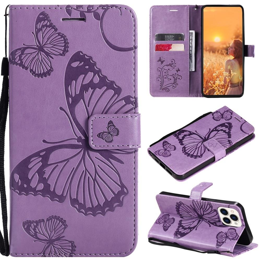Lærveske Sommerfugler iPhone 13 Pro lilla