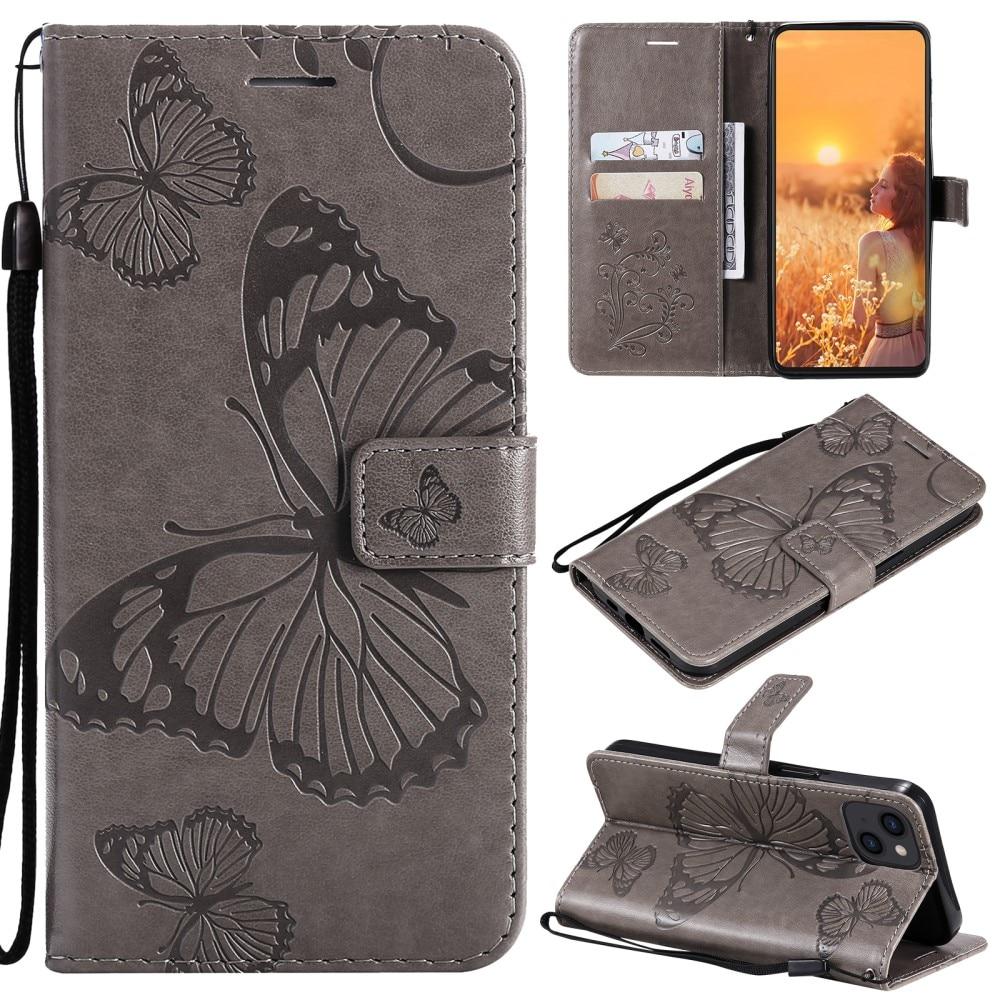 Lærveske Sommerfugler iPhone 13 Mini grå