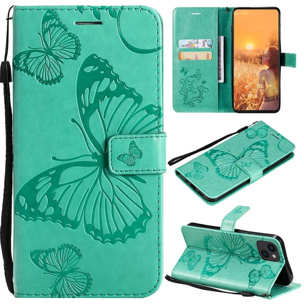 Lærveske Sommerfugler iPhone 13 Mini grønn
