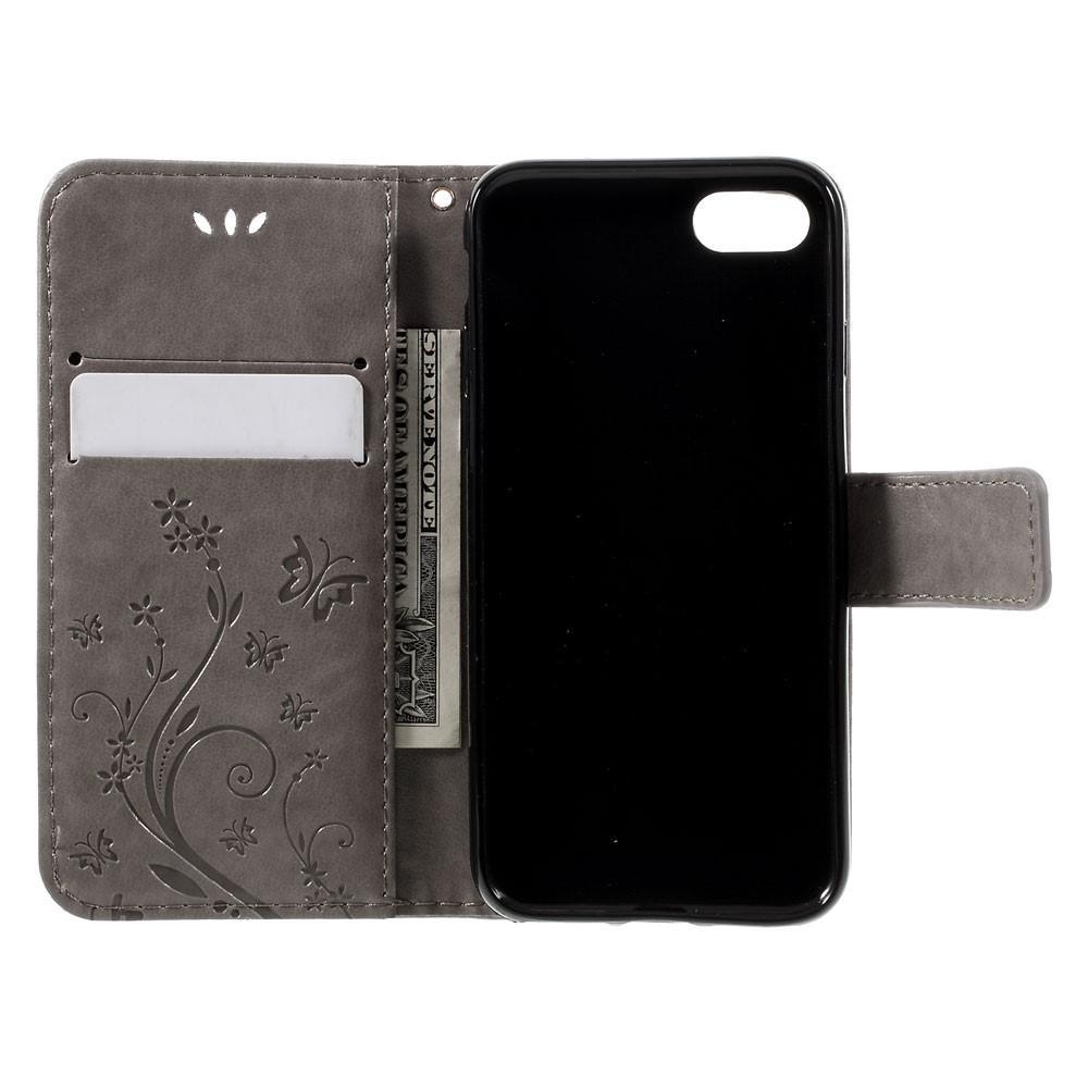 Lærveske Sommerfugler iPhone 7/8/SE 2020 grå