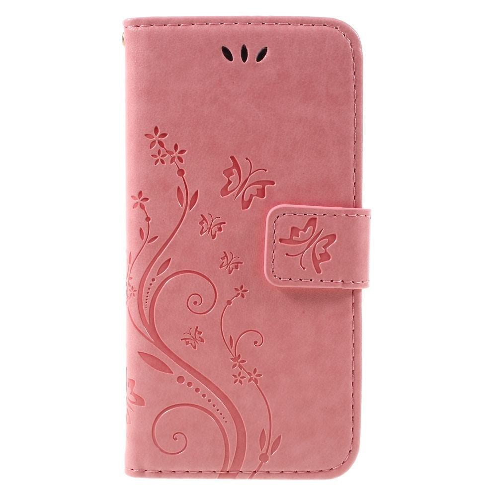 Lærveske Sommerfugler iPhone 7/8/SE 2020 rosa