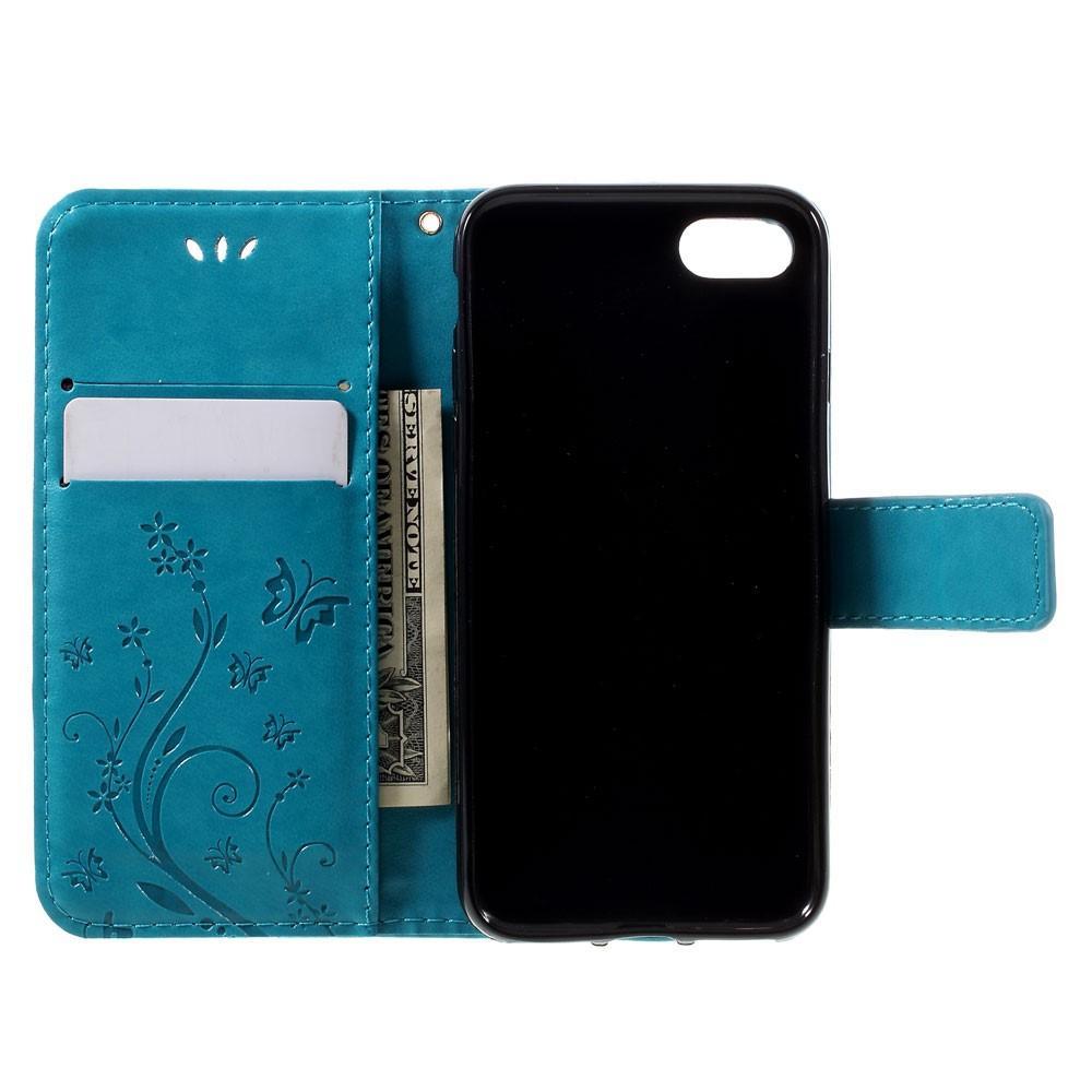 Lærveske Sommerfugler iPhone 7/8/SE 2020 blå