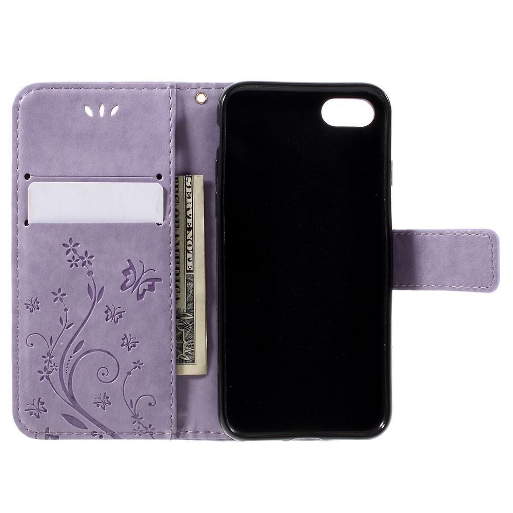 Lærveske Sommerfugler iPhone 7/8/SE 2020 lilla