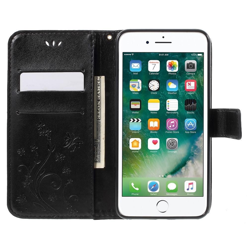 Lærveske Sommerfugler iPhone 7 Plus/8 Plus svart