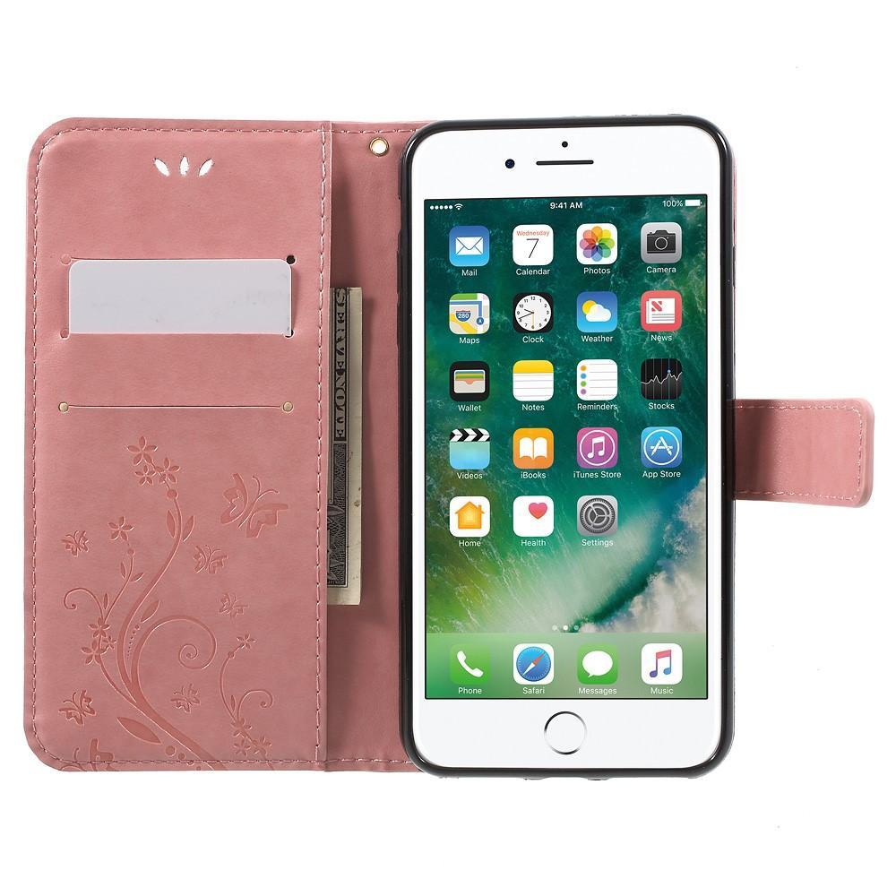 Lærveske Sommerfugler iPhone 7 Plus/8 Plus rosa