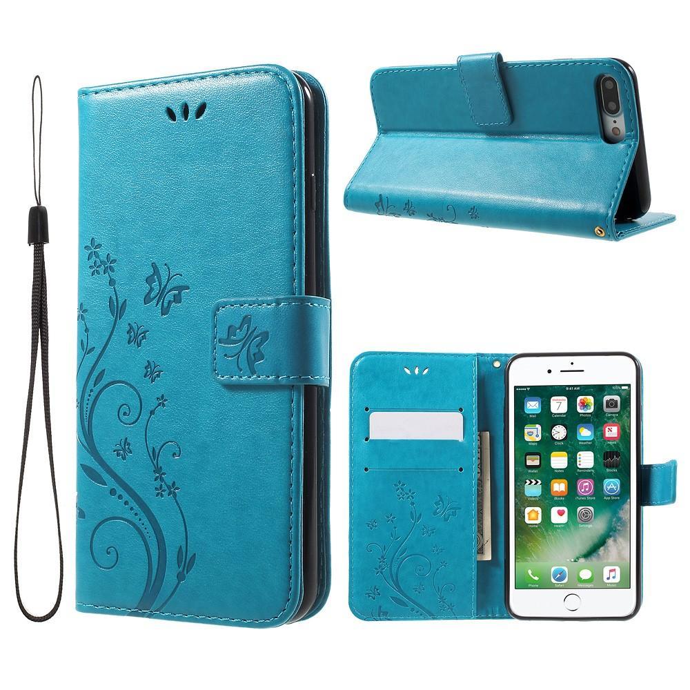 Lærveske Sommerfugler iPhone 7 Plus/8 Plus blå