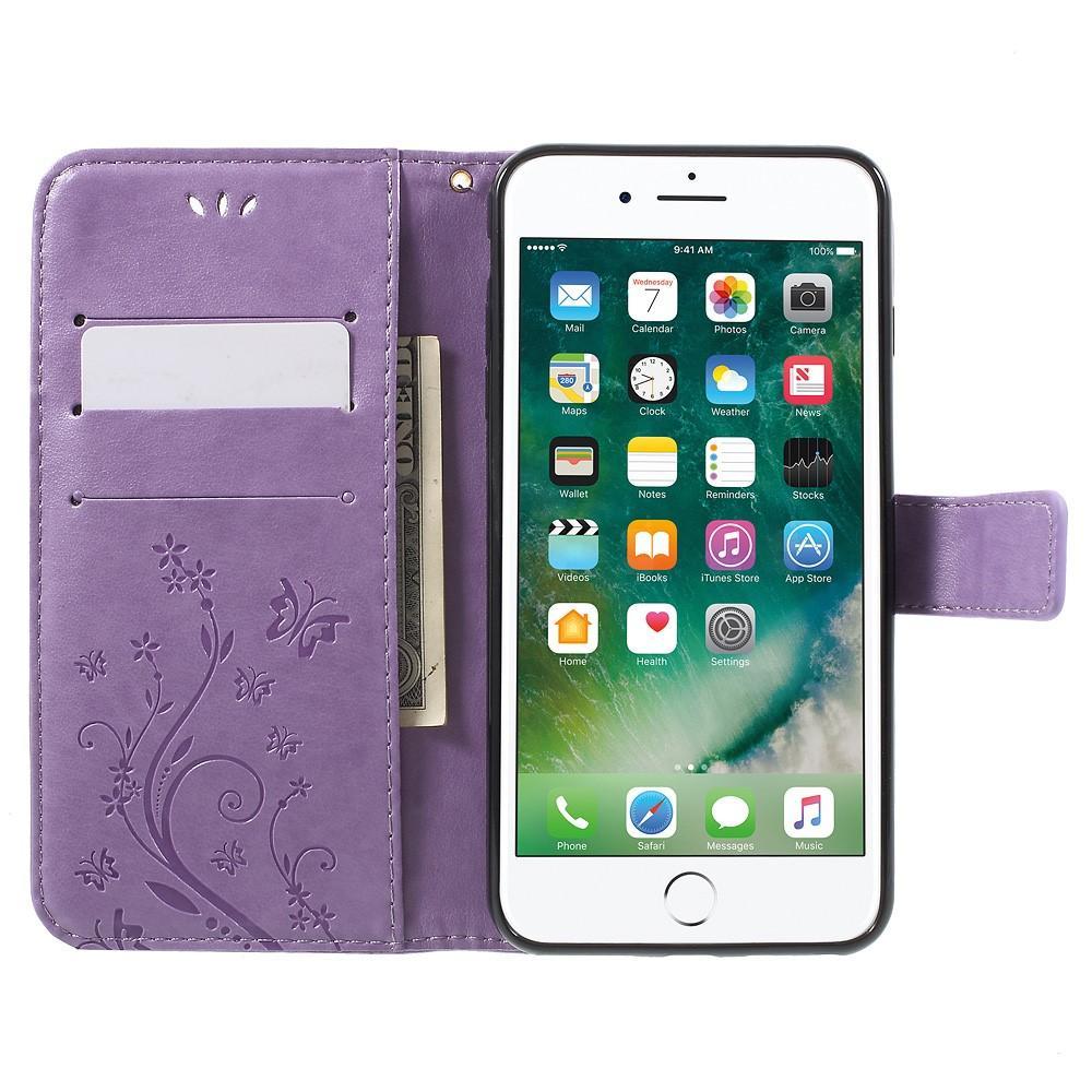 Lærveske Sommerfugler iPhone 7 Plus/8 Plus lilla
