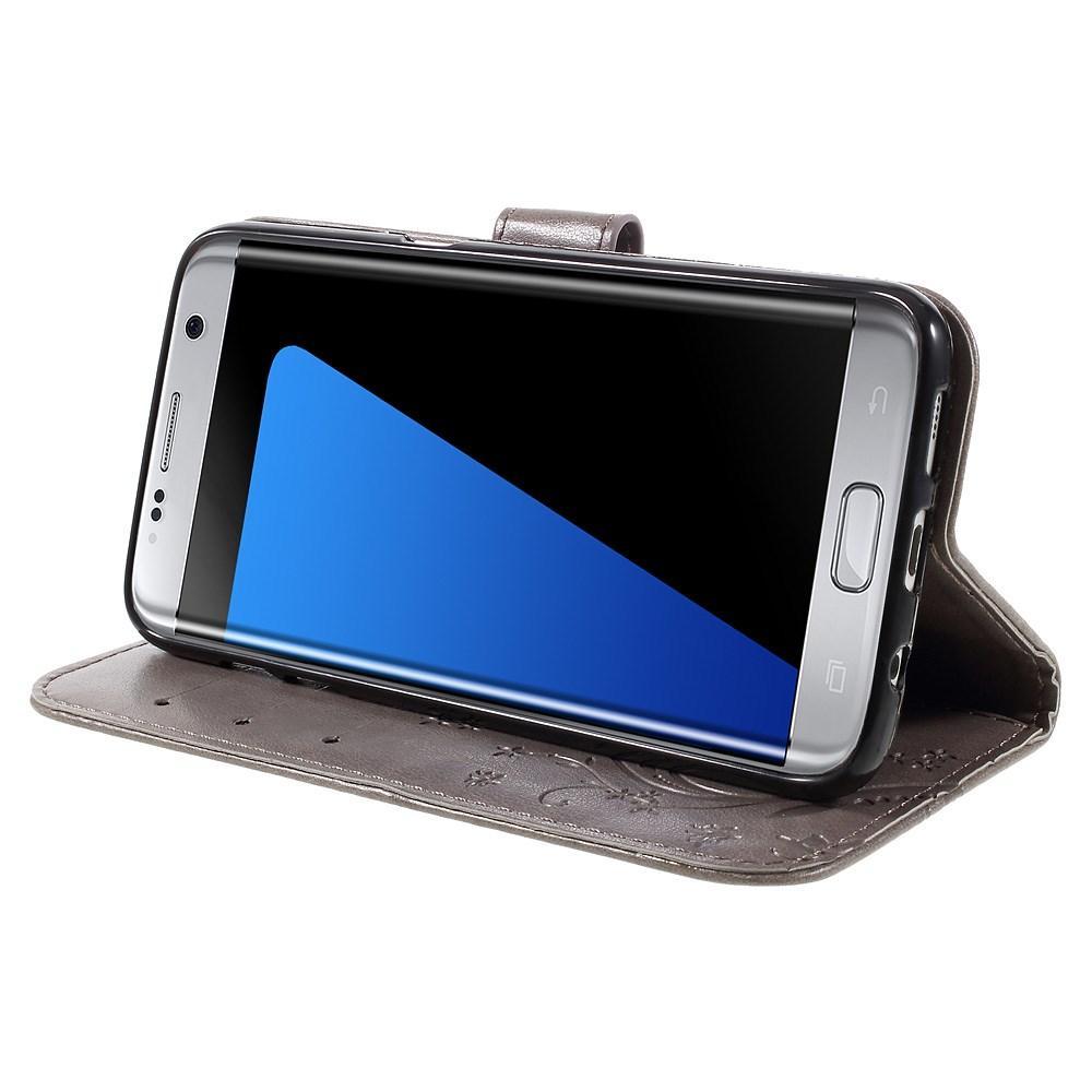 Lærveske Sommerfugler Samsung Galaxy S7 Edge grå