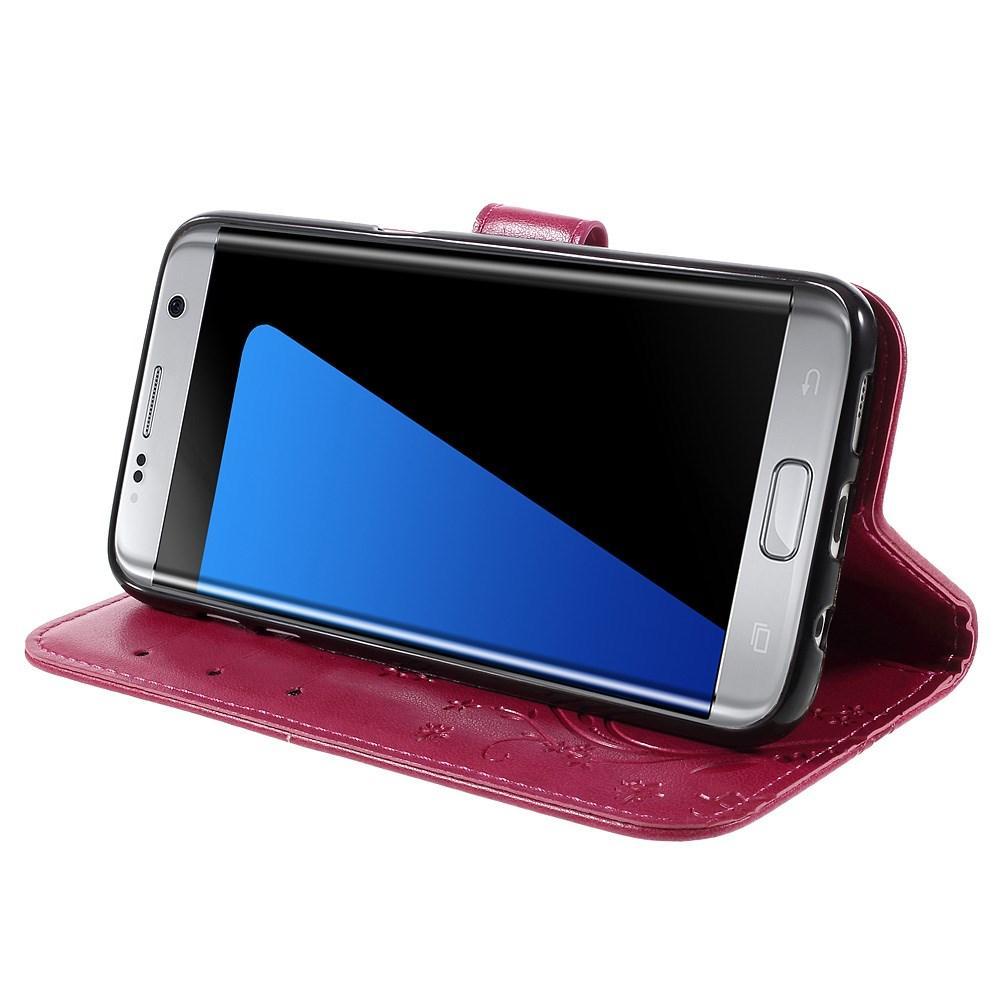 Lærveske Sommerfugler Samsung Galaxy S7 Edge cerise