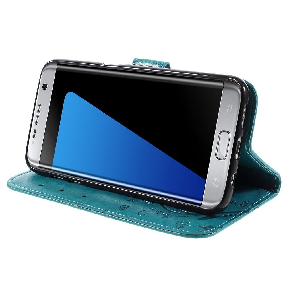 Lærveske Sommerfugler Samsung Galaxy S7 Edge blå
