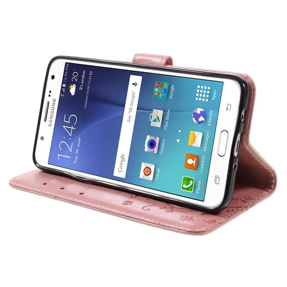 Lærveske Sommerfugler Samsung Galaxy J5 2016 rosa