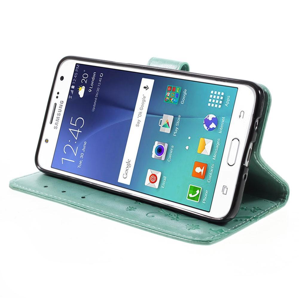 Lærveske Sommerfugler Samsung Galaxy J5 2016 grønn