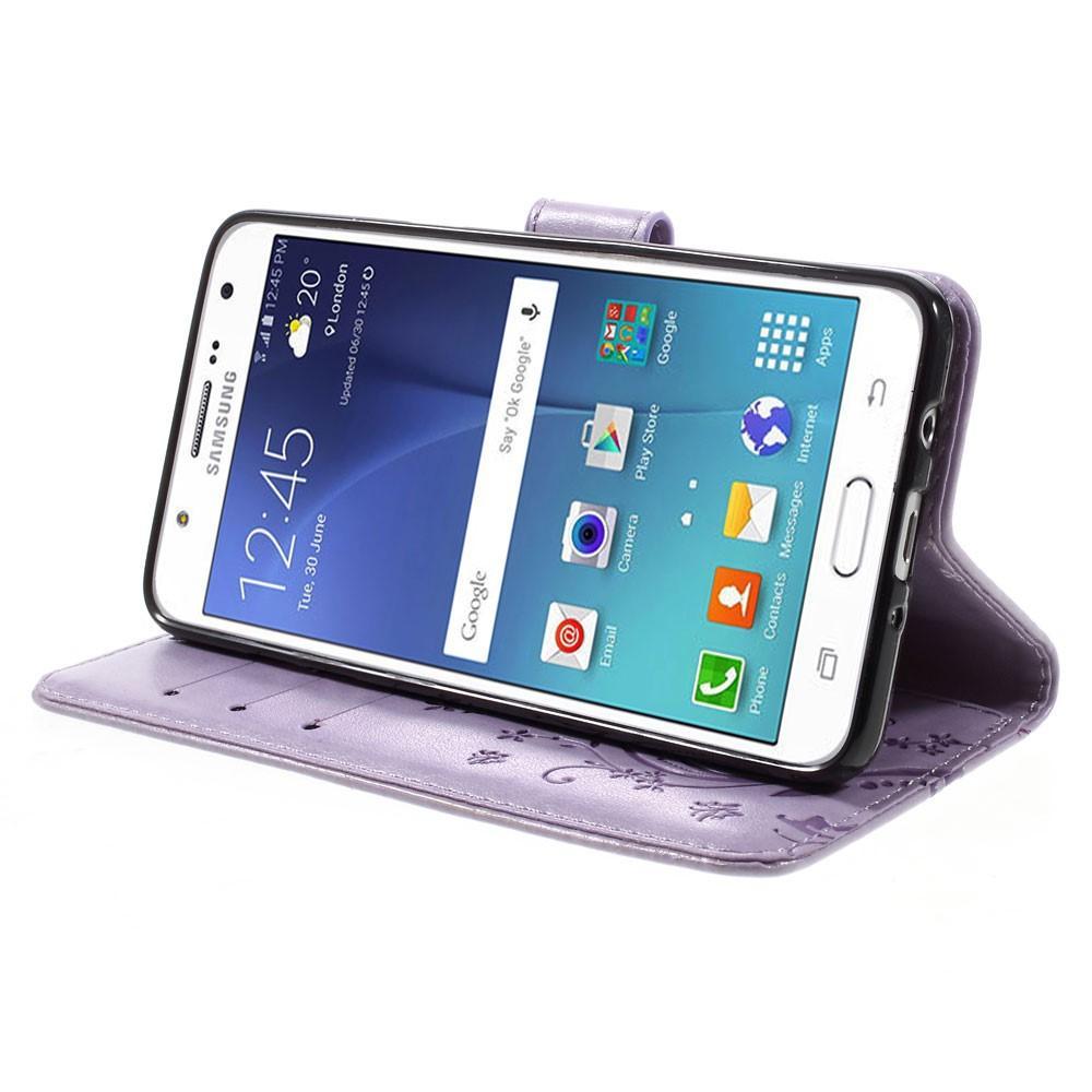 Lærveske Sommerfugler Samsung Galaxy J5 2016 lilla