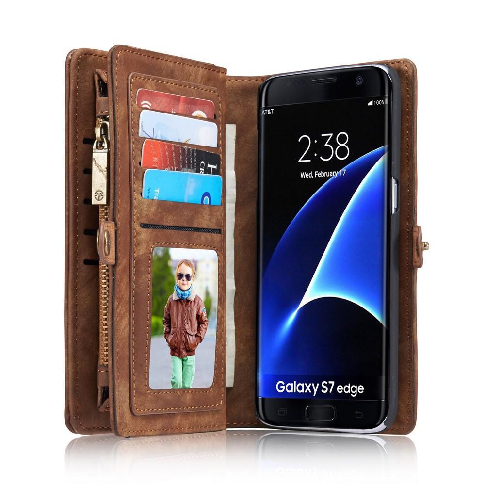 Multi-slot Lommeboksetui Galaxy S7 Edge brun