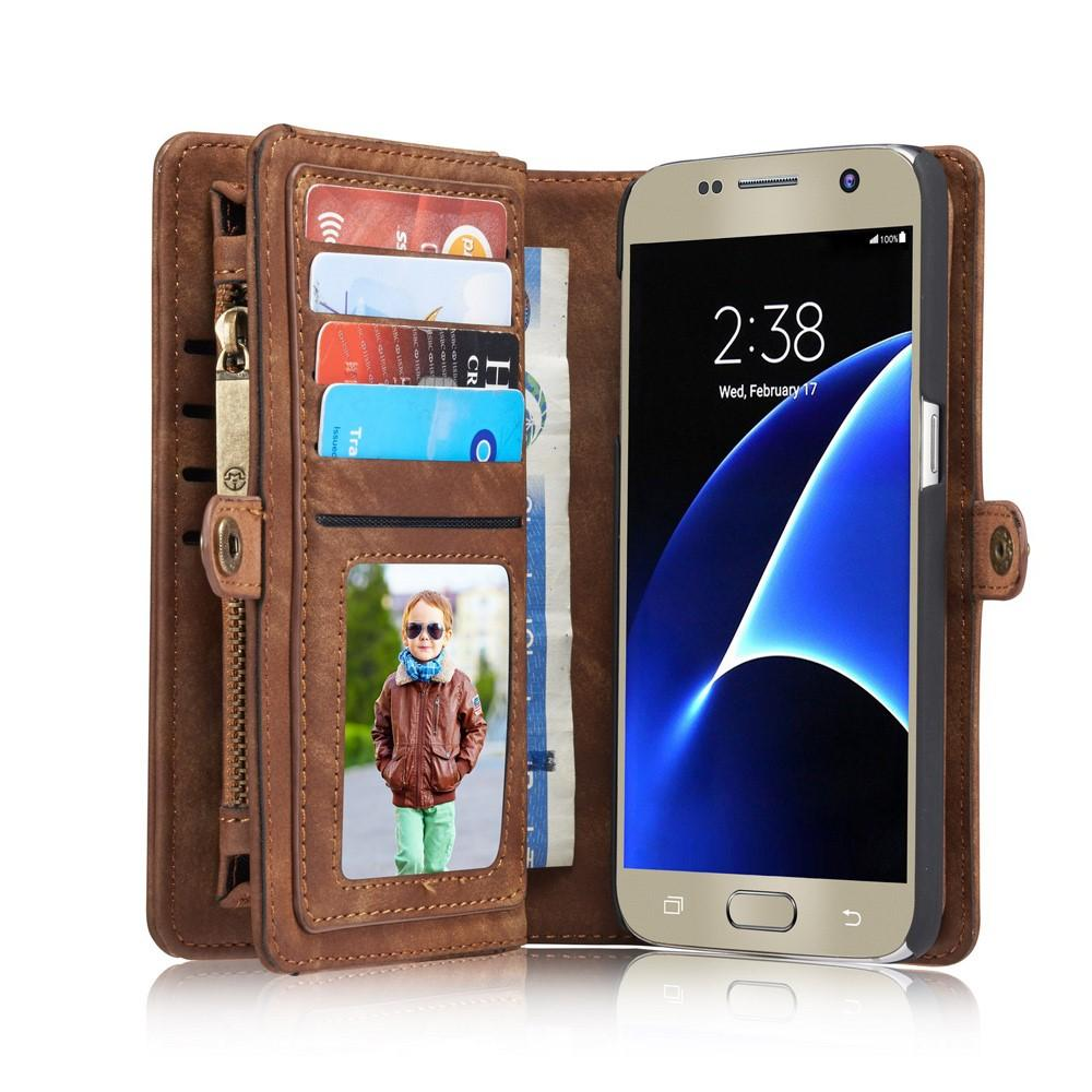 Multi-slot Lommeboksetui Galaxy S7 brun