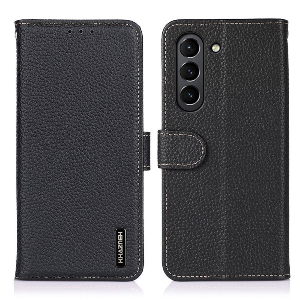 Real Leather Wallet Galaxy S21 FE Black