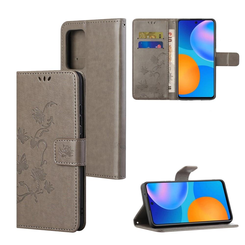 Lærveske Sommerfugler Samsung Galaxy A82 5G grå