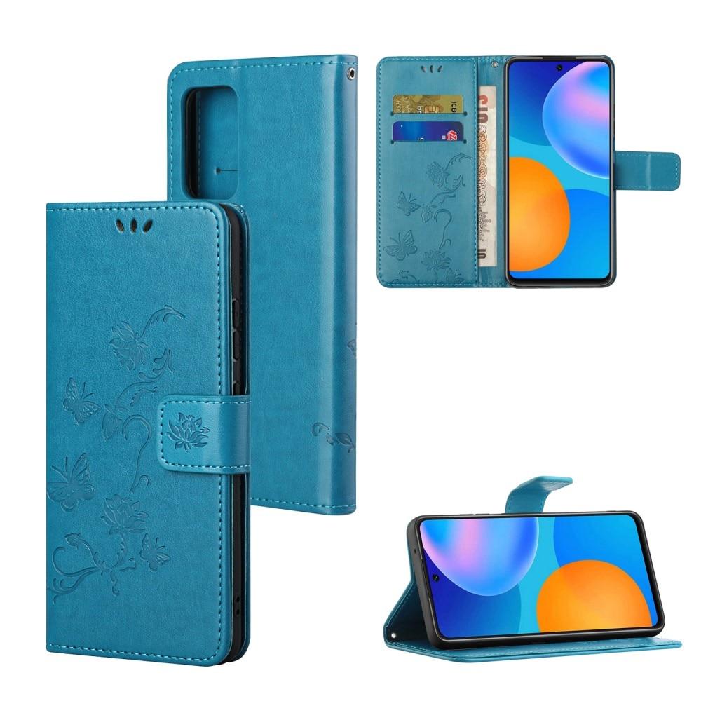 Lærveske Sommerfugler Samsung Galaxy A82 5G blå