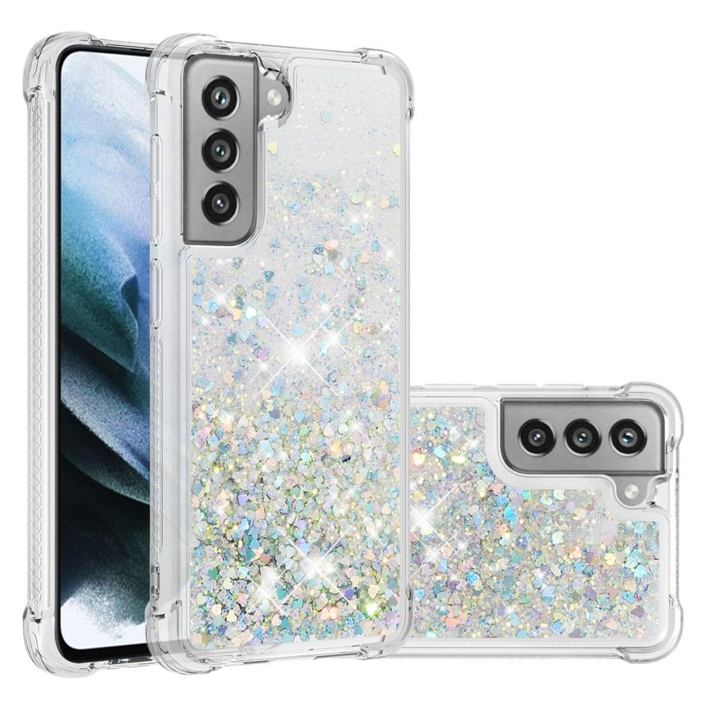Glitter Powder TPU Case Galaxy S21 FE sølv