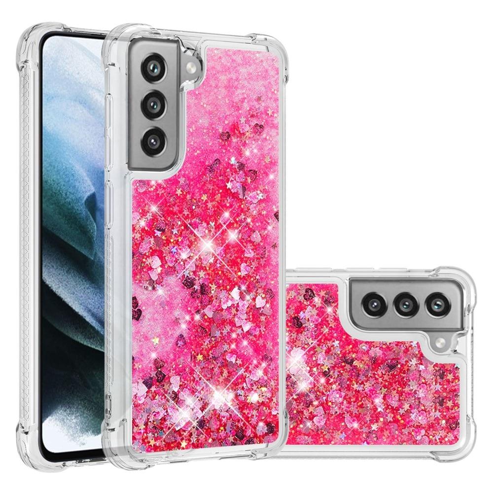 Glitter Powder TPU Case Galaxy S21 FE rosa