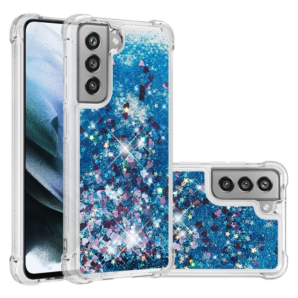 Glitter Powder TPU Case Galaxy S21 FE blå