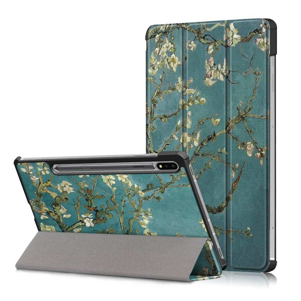 Etui Tri-fold Samsung Galaxy Tab S7 FE - Kirsebærblomster