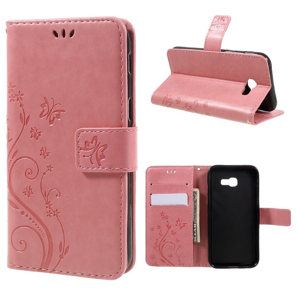 Lærveske Sommerfugler Samsung Galaxy A5 2017 rosa