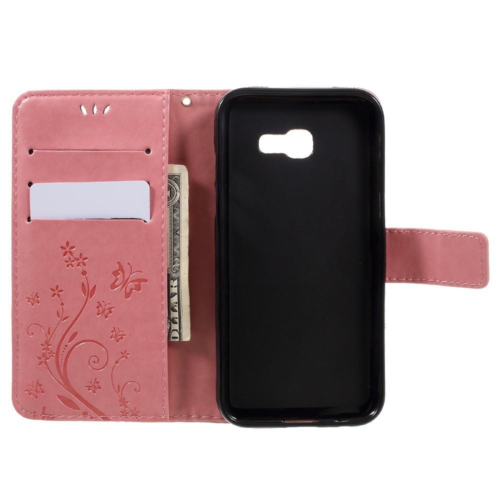 Lærveske Sommerfugler Samsung Galaxy A3 2017 rosa