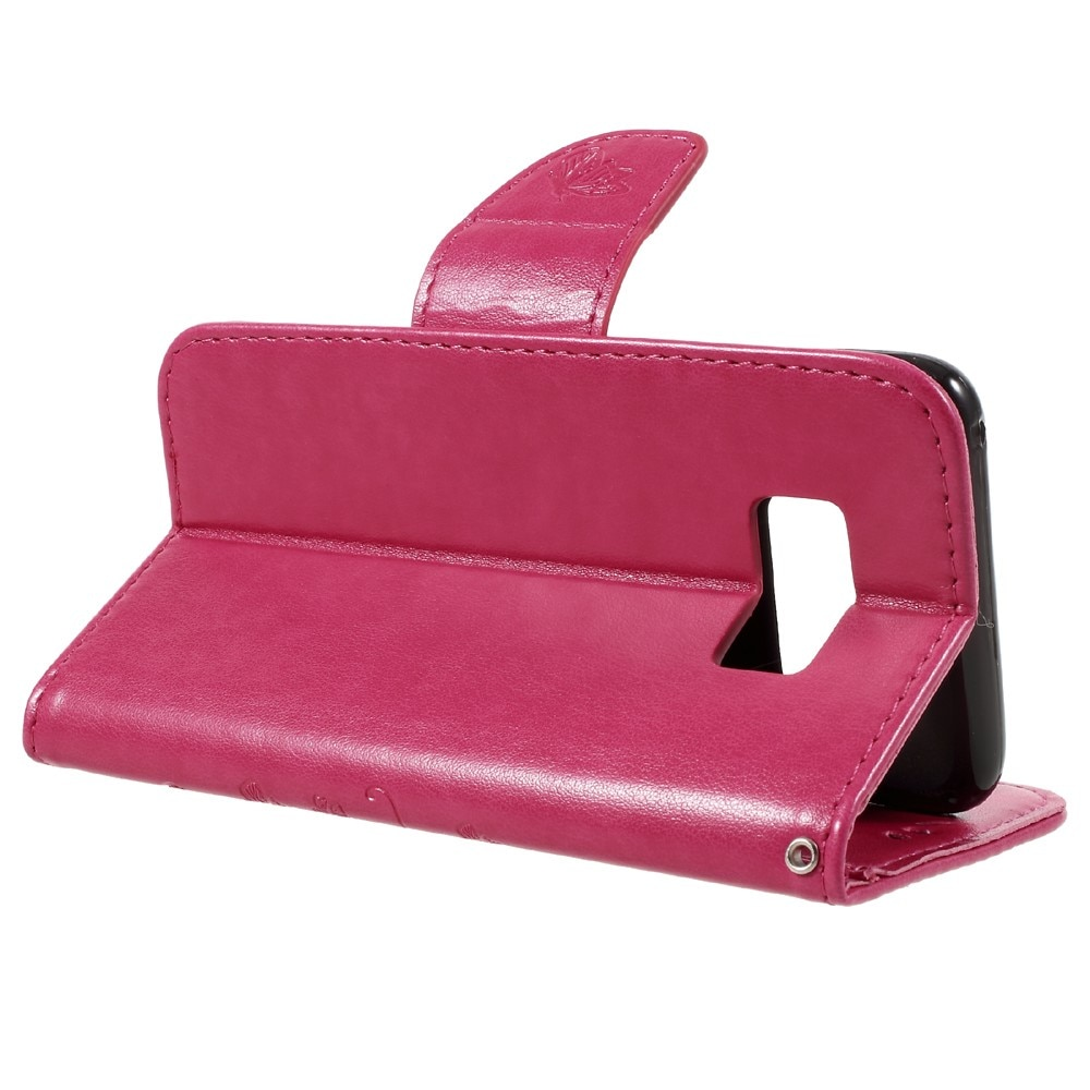 Lærveske Sommerfugler Samsung Galaxy S8 rosa