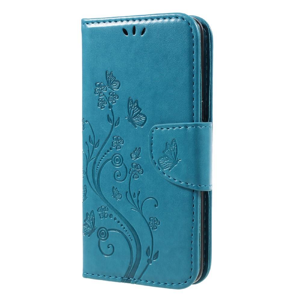 Lærveske Sommerfugler Samsung Galaxy S8 blå