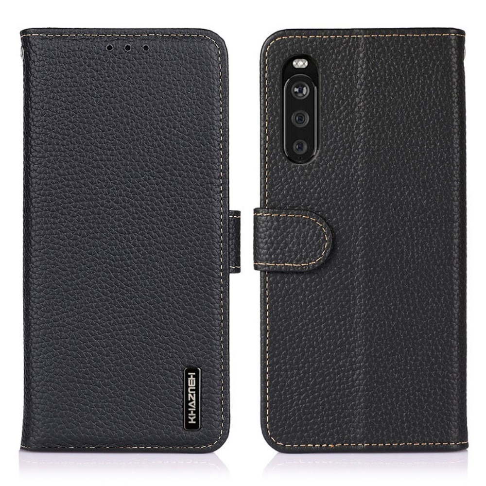 Real Leather Wallet Sony Xperia 10 III Black