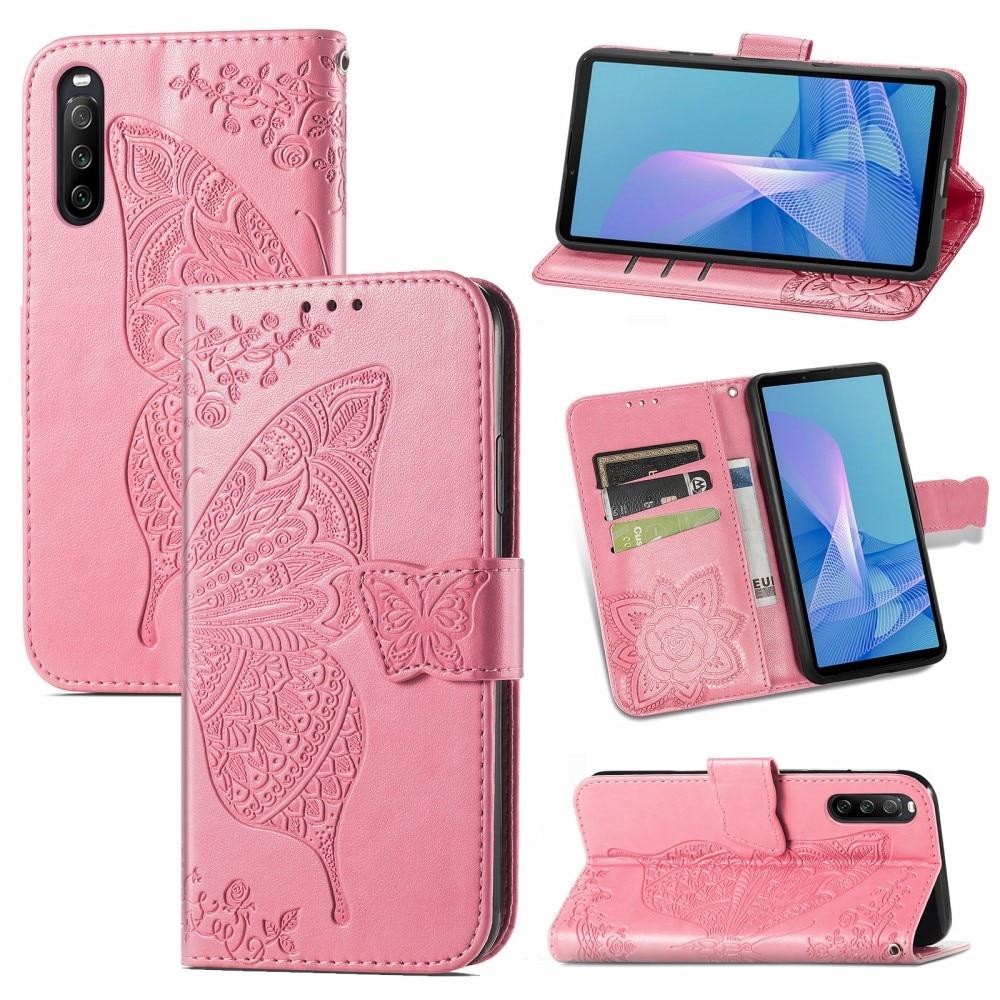 Lærveske Sommerfugler Sony Xperia 10 III rosa