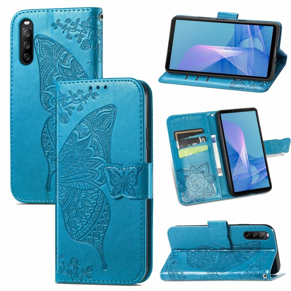Lærveske Sommerfugler Sony Xperia 10 III blå