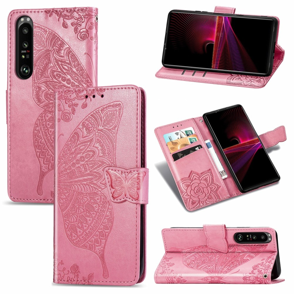 Lærveske Sommerfugler Sony Xperia 1 III rosa